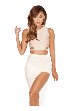 Angelica Nude and White Bandage Two Piece
