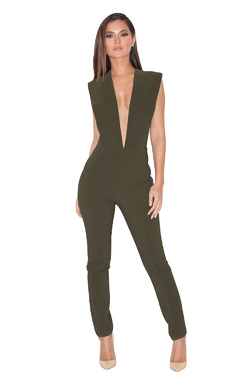 Basia Khaki Deep V Fitted Jumpsuit