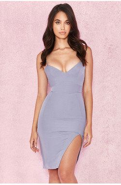 Raqa Grey Assymetric Cut Bralet Dress