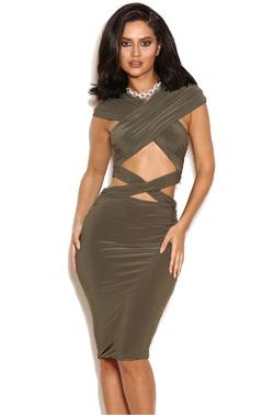 Lisandra Khaki Wrap Effect Dress
