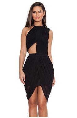 Leonora Black Draped Chiffon Cut-Out Dress