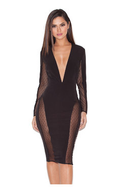 Niida Black Stretch Crepe and Mesh Panelled Dress