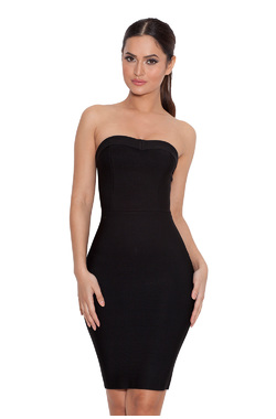 Vanna Black Strapless Bandage Mini Dress