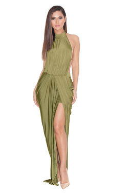 Vittoria Olive Draped Silky Jersey Maxi Dress