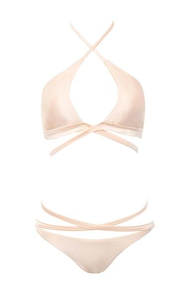 Abuzzo Peach Peek-a-boob Wrap Bikini