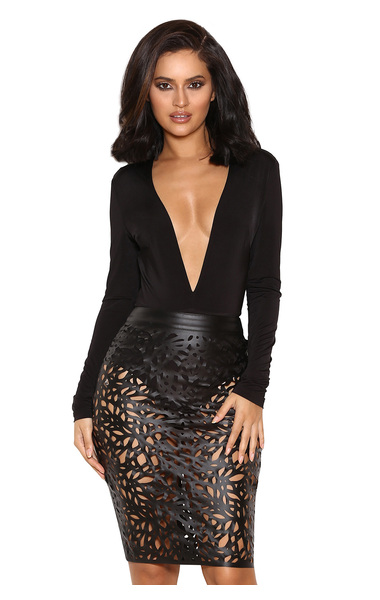 Lorenza Black Silky Jersey Deep V Bodysuit