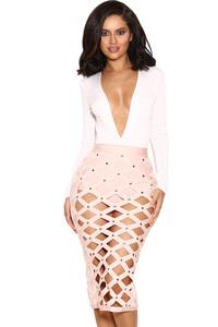 Izumi Pale Pink Bandage Cage Skirt