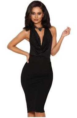 Carlina Black Jersey and Devore Pencil Skirt