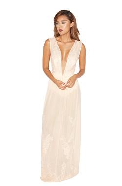 Cerelia Peach Lace and Mesh Maxi Dress