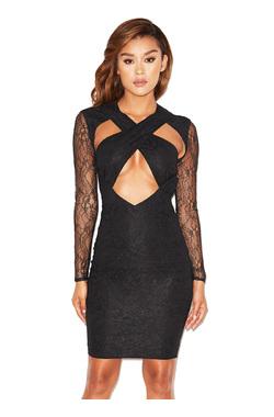 Emira Black Lace Peek-A-Boob Dress