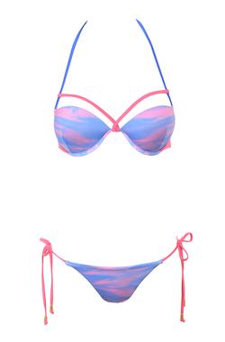 Haiti Blue and Lilac Sunset Print Bikini