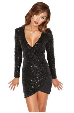Cascata Black Sequin Asymmetric Mini Dress