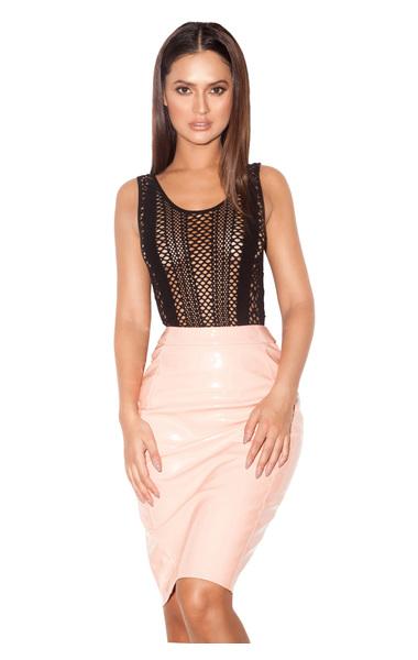 Giada Black Lycra Knit Scoop Back Bodysuit