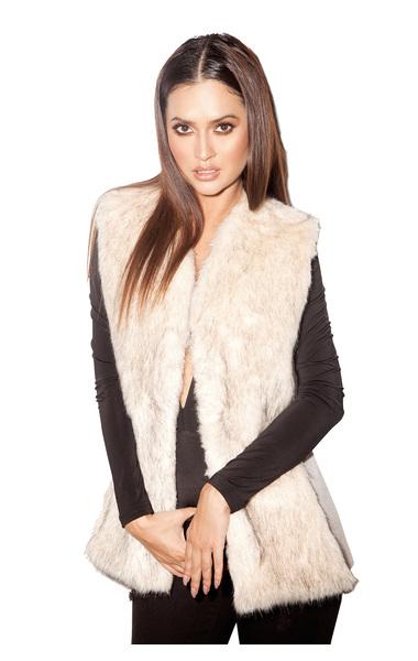 Rania Champagne Faux Fur Vest