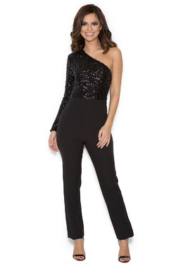 Ambrea Black Embellished Glitter One Shoulder Jumpsuit