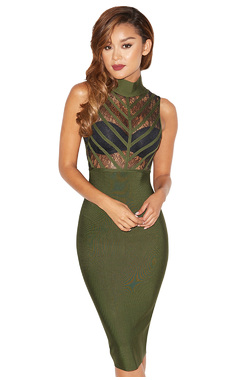 Dimitria Khaki Lace and Bandage Dress