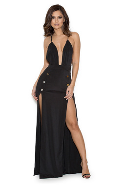 Farrana Black Double Thigh Split Maxi Dress