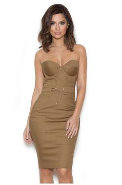 Morena Tan Twill Bustier Dress