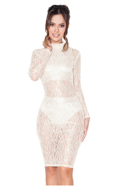 Nefele Gold Sheer Lace Dress with Top and Shorties