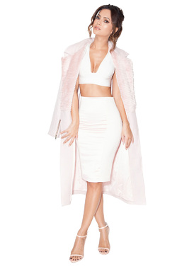Nour Pale Pink Wool and Faux Fur Coat