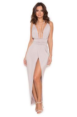 Sameh Grey Silky Jersey Thigh Split Dress