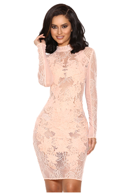 Gialla Peach Mesh and Lace Long Sleeved Dress