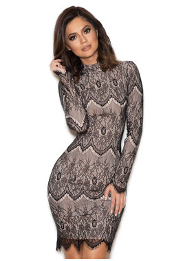 Sabre Black Lace Backless Dress