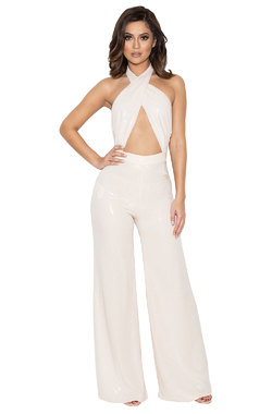 Santiaga Peach Sequinned Wrap Front Jumpsuit