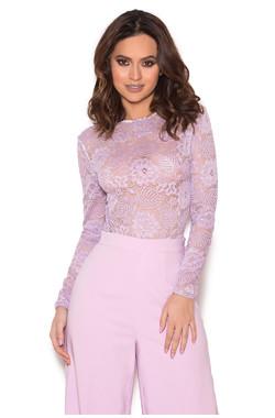 Suri Lilac Sheer Stretch Lace Bodysuit