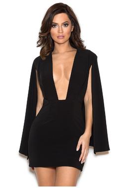 Ellez Black Stretch Crepe Deep V Cape Dress