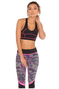 arma Black and Pink Cropped Work Out Top