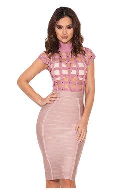 Riya Rose Pink Studded Cage Bodysuit