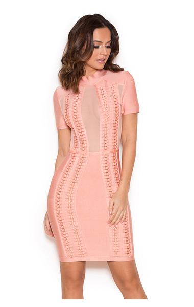 'Rayane' Pink Bandage and Mesh Dress
