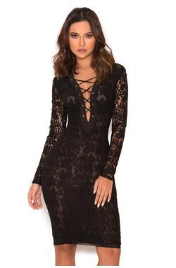 Anchali Black Sheer Lace Long Sleeved Dress
