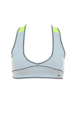 Asana Grey and Neon Green Work Out Cropped Top