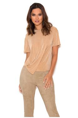 Aspen Sand Silky Knit Draped Tshirt