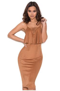 Margi Tan Suedette Frill Midi Dress
