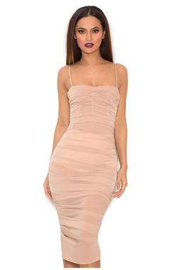 Railea Taupe Ruched Stretch Chiffon Dress