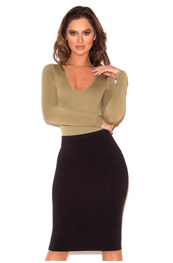 Rosella Khaki Seamless Knit Scoop Neck Stretch Bodysuit