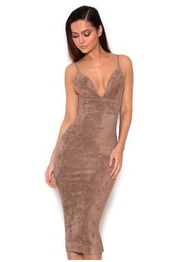 Vani Taupe Stretch Suedette Bralet Dress