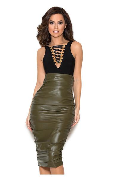 Kori Khaki Stretch Vegan Leather Pencil Skirt