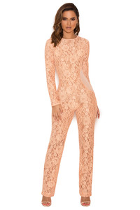 Kenna Peach Lace and Mesh Jumpsuit