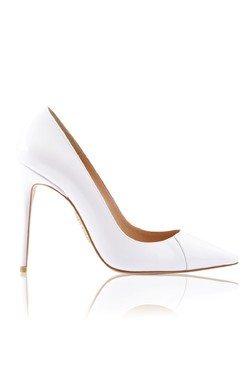 PARIS White Patent Leather Pointy Toe Heels 4""