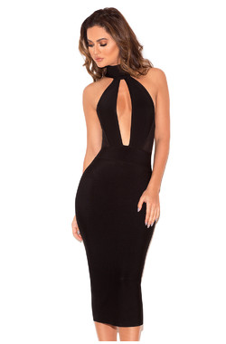 Alejandra Black Halter Backless Bandage Dress