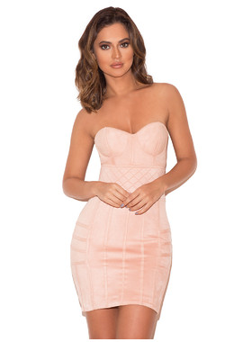 Caterina Peach Suedette Quilted Bustier Mini Dress