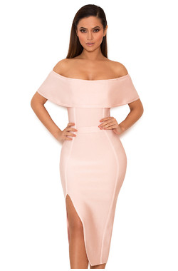 Danae Light Pink Off the Shoulder Bandage Dress