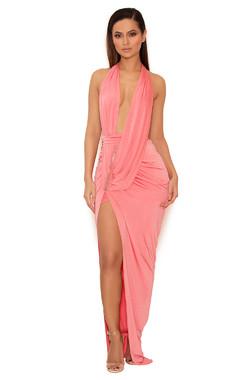 Febe Coral Draped Deep V Silky Jersey Maxi Dress