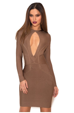 Kesor Khaki Peek-a-Boob Bandage Dress
