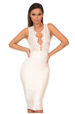 Ria White Lace and Bandage Deep V Dress