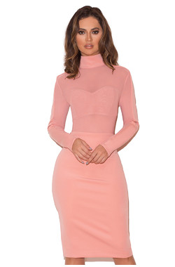 Sajida Pink Stretch Crepe Jersey Long Sleeve Dress